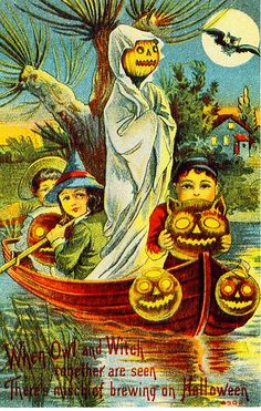 """Vintage Halloween Postcard - """"When Owl and Witch together are seen, There's mischief brewing on Halloween. Halloween Retro, Vintage Halloween Images, Halloween Pictures, Vintage Holiday, Halloween Crafts, Victorian Halloween, Halloween Labels, Halloween Stuff, Halloween Kids"""