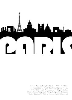 paris, graphic design and skyline, black and white Oh Paris, I Love Paris, Paris Pics, Paris Torre Eiffel, Tour Eiffel, Image Paris, Typography, Lettering, Vintage Travel Posters