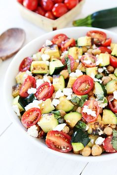 Grilled Zucchini, Chickpea, Tomato, and Goat Cheese Salad | Two Peas & Their Pod