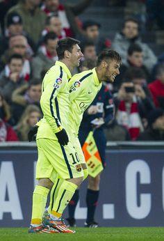 Lionel Messi (L) of FC Barcelona celebrates after scoring during the La  Liga match 0455227e88f19