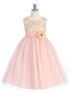 Adorable whimsical style dress! This sleeveless dress has a gorgeous floral inspired bodice, and a beautiful flower to accent the waist. This lovely dress is perfect for flower girls or any formal event!