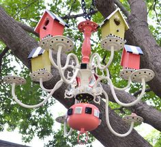 Custom Made to Order Tweet Coral Birdhouse Chandy Garden Crafts, Garden Projects, Projects To Try, Outdoor Wall Art, Outdoor Decor, Outdoor Ideas, Bird House Feeder, Bird Feeders, Outdoor Chandelier
