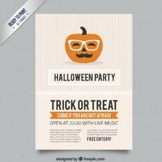 Halloween poster with a hipster pumpkin