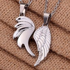 2pc Set Angel Wings Couples Friendship Pendant Necklaces Rhinestones Silver Tone #Unbranded #Statement