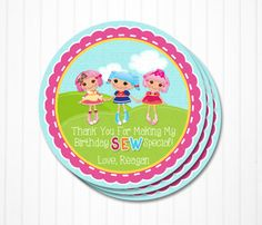 Lalaloopsy Party Favor Tags - Jewel, Crumbs, Marina Dolls- Personalized & Printable PDF File