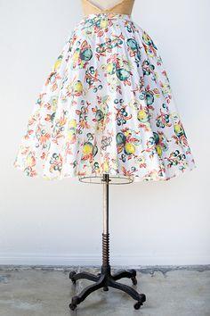 vintage 1950s fruit floral print circle skirt
