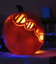 """Blog post from Science Stuff: """"The Haunted Library .... Science Style!""""  Pumpkins are carved with a science theme to transform our school library into a very scientifically scary place!"""