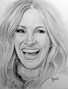 Julia Roberts Drawing by Greg Hand.Commission a drawing from your… Pencil Portrait Drawing, Realistic Pencil Drawings, Cool Art Drawings, Pencil Painting, Color Pencil Art, Art Drawings Sketches, Colorful Drawings, Portrait Art, Celebrity Drawings