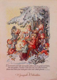 RUTHILD BUSCH SCHUMANN - KINDER mit Laterne u. Kerzen im verschneiten Wald - 195