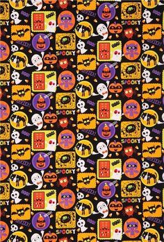 Looking for Halloween wallpapers to haunt your screens this end of October? Well, too bad because we only have adorable Halloween wallpapers to share with Halloween Banner, Halloween Fabric, Vintage Halloween, Halloween Stuff, Halloween Crafts, Halloween Ideas, Halloween Wallpaper, Halloween Backgrounds, Ghost Pumpkin