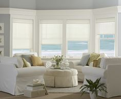 Be inspired by the design capability of roller shades! Different types of window treatments are a great way to add dimension & drama to your favorite rooms! Drapes And Blinds, Blinds For Windows, Window Blinds, Sunroom Windows, White Curtains, Types Of Window Treatments, Modern Family Rooms, Custom Blinds, Room Additions