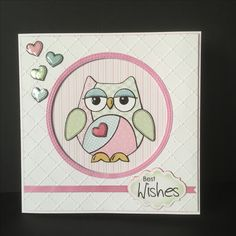 Woodware Patchwork Owl, Crealies Doublestitch circle die, Memory Box Grosgrain Ribbon die, SB Labels 20 die.