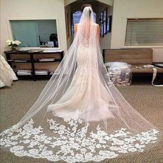 Buy White Ivory Romantic Lace Long Veil Cathedral Wedding Bride Veil With Comb at Wish - Shopping Made Fun Long Veils Bridal, Ivory Wedding Veils, Elegant Wedding, Wedding Bride, Bridal Gowns, Trendy Wedding, Boho Wedding, Bride Veil, Romantic Lace