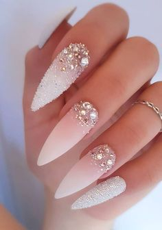 """The most stunning wedding nail art designs for a real """"wow"""" - Wedding hairst. The most stunning wedding nail art designs for a real """"wow"""" - Wedding hairst.,Nageldesign The most stunning wedding nail art designs for a real """"wow"""" - Wedding hairstyles Stiletto Nail Art, Cute Acrylic Nails, Acrylic Nail Designs, Glitter Nails, Nail Art Designs, Nail Nail, Coffin Nails, Wedding Stiletto Nails, Nail Polish"""