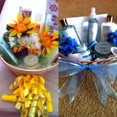 Dollar tree gift baskets for birthdays; used ribbon to decorate the basket, confetti for the inside, used body gel, body spray, foot scrubs, candles, lotion and finished with the same color flowers to make it girly and fill in the holes. Probably spent from $8 to $12 on the whole thing!