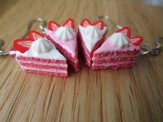 Strawberry Shortcake Earrings  Polymer Clay by StarfallsAtDusk