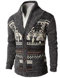H2H Mens Casual Nordic Patterned Knited Shawl Collar Cardigan BLACK US L/Asia XL (KMOCAL0105)