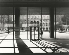 Looking from the Seagram lobby across Park Ave, Mies van der Rohe with Philip Johnson, New York, NY, 1958. Photo by Ezra Stoller.