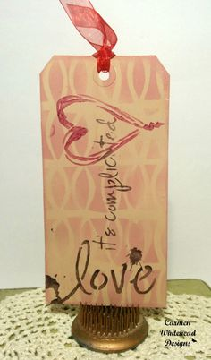 Mixed media Valentine's Tags - Love, It's Complicated. #mixedmediatag #tcwstencillove #valentinesday