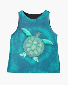 TYE AND DYE TURTLE 368 Sleeveless Top Designed and sold by sana90 Pastels, Turtle, Tank Man, Women's Fashion, Turquoise, Abstract, Mens Tops, Inspiration, Things To Sell