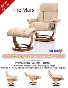 The Mars - Italian inspired design premium quality leather recliner chair. Available in the UK in a range of colours.