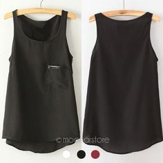 Fashion 3 Colors New Simple Casual Solid Women Girl Chiffon Sleeveless Vest Tank Tops Blouse T-Shirt Camisole Shirt xE3112#C9
