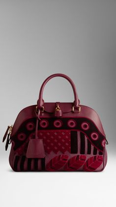 bd0e018c9eef Burberry Medium Velvet And Leather Bowling Bag in Red (elderberry)