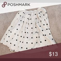 Cream with Navy Polka Dots Chiffon Skirt Pleated chiffon knee length skirt! Fully lined and super flowy! Comme Toi Skirts A-Line or Full