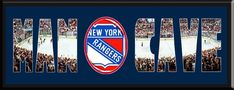 MAN CAVE - Personalized Framed New York Rangers Team Logo & Madison Square Garden Stadium Large Panoramic Showing In Background With MANCAVE Letters Cut Out & Team Logo In Center-Framed Awesome & Beautiful-Must For Any Fan!