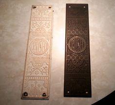 Antique Door Push Plates - Set of 2 - Brass/Bronze - Antique/Vintage & Amazon.com: Lorraine Pattern Push Plate In Wrought Bronze. Push ...