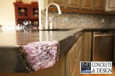 Custom Made Concrete Countertops- Concrete countertop with crystal inlays.