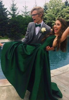 Sexy Green Prom Dress, Back Open V Neck Prom Dress, Long satin Prom Dresses for Teens,Evening Dress Prom Pictures Couples, Homecoming Pictures, Prom Couples, Teen Couples, Maternity Pictures, Couple Pictures, Dark Green Prom Dresses, Prom Dresses Under 100, Long Dresses