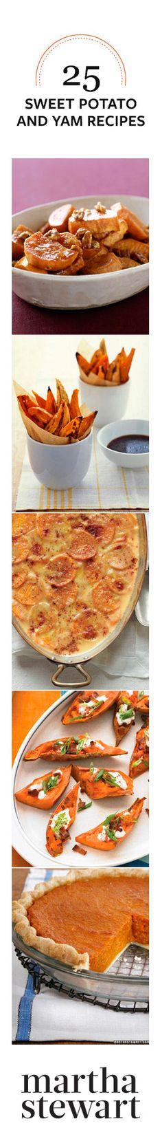 Martha Stewart: 25 Sweet Potato and Yam Recipes Sweet Potato Recipes, Yam Recipes, Cooking Recipes, I Love Food, Good Food, Yummy Food, Thanksgiving Recipes, Holiday Recipes, Carne