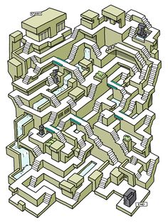 It's been a while since I've posted a maze. Here I'm playing with Brutalist Architecture- which has been quite the internet trend for a bit now. I am happy with how the maze turned out. It is simple, a little tricky, and has very clear paths. Labyrinth Design, Labyrinth Maze, 3d Maze, Maze Game, Mazes For Kids, Activities For Kids, Hard Mazes, Maze Drawing, Lateral Thinking Puzzles