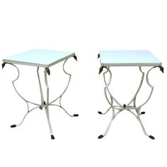 Pair Regency Iron End Tables with Swan Heads