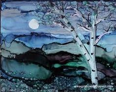Alcohol Ink Painting - Birch By The Moon by Kim Thompson Alcohol Ink Tiles, Alcohol Ink Glass, Alcohol Ink Crafts, Alcohol Ink Painting, Watercolor Landscape, Watercolor And Ink, Anime Comics, Ink In Water, Encaustic Art