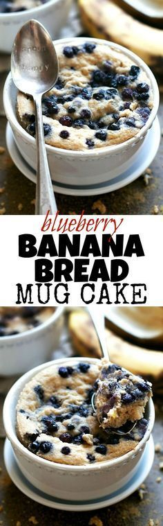 Satisfy your banana bread cravings in less than 5 minutes with this healthy Blueberry Banana Bread Mug Cake! It's made without flour, butter, or oil, but so light and fluffy that you'd never be able t(Baking Bread Banana) Banana Bread Mug, Blueberry Banana Bread, Banana Flour, Mug Recipes, Cooking Recipes, Microwave Recipes, Paleo Recipes, Mug Cakes, Healthy Recipes