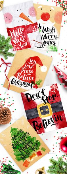 Christmas Watercolor Posters — Photoshop PSD #snowman #cake • Available here → https://graphicriver.net/item/christmas-watercolor-posters/13049661?ref=pxcr