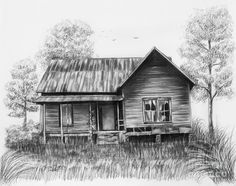 Pencil Drawing - Abandoned House by Lena Auxier