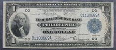 1918 Circulated US $1 National Currency PHILADELPHIA Federal Reserve Note