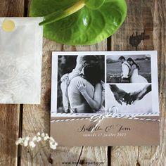 Faire part mariage ficelle avec du kraft qui mettra en valeur les trois plus belles photos de votre couple, pour une annonce personnelle et élégante, ref N311192 #mariage #fairepart #vintage #photo