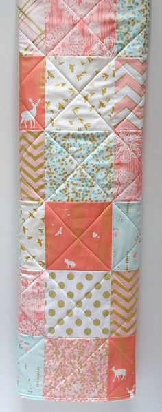 Modern Baby Girl Quilt - great beginner quilt and can be made with charm squares.