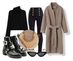Wrap coat by fashiontagblog on Polyvore featuring Chloé, Balmain, Balenciaga and Le Specs
