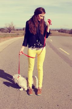 yellow pants and oxfords