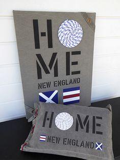 New England Home - inredning med marint tema. Unika tavlor och kuddar i sliten canvas.