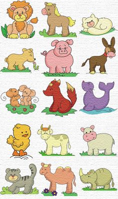 free embroidery designs animal set-lion, horse, cat, bear, seal, camel, rhino,etc.