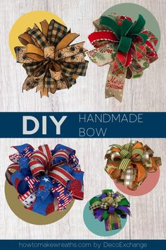 This quick tutorial will show you how to make a handmade bow for wreaths. Included is a step by step video on how to make a handmade wreath bow. #DIY #bowtutorial Making Bows For Wreaths, How To Make Wreaths, How To Make Bows, Mesh Ribbon Wreaths, Diy Ribbon, Deco Wreaths, Burlap Wreaths, Burlap Bows, Fall Wreaths