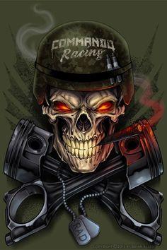 Skeleton T-Shirt Designs for Commando Racing Gear - Dark Shirt - Ideas of Dark Shirt - Dark Illustrations T-Shirt & Album Cover Freelance Illustrator For Hire Skull Tattoo Design, Skull Tattoos, Dark Fantasy Art, Dark Art, Mascot Design, Logo Design, Hannya Maske, Tattoo Ideas, Skull Art