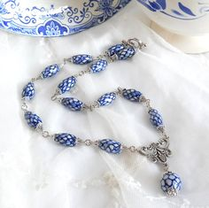 Delft blue necklace blue and white Delft blue jewelry by minouc, €27.50