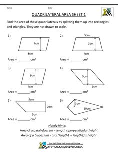 Area of Shaded Region Worksheets (rectangles and triangles ...